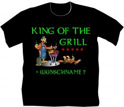 Grillkönig Grillmeister T-Shirt Griller BBQ T-shirt mit Wunschname Herrenshirt